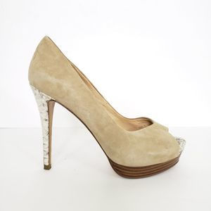 Zara Tan Snakeskin Leather Platform Heels Size 40
